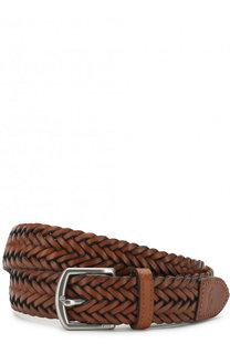 Кожаный плетеный ремень с металлической пряжкой Polo Ralph Lauren