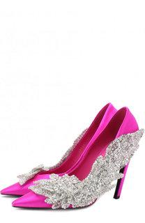Атласные туфли Slash с аппликацией на шпильке Balenciaga