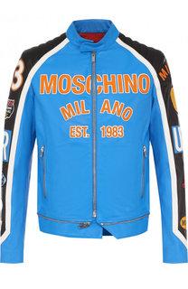 Кожаная куртка с воротником-стойкой Moschino