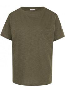 Однотонная хлопковая футболка с круглым вырезом Moncler