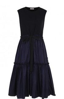 Однотонное приталенное платье-миди Moncler