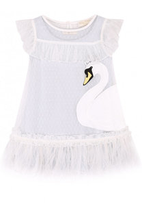 Мини-платье с аппликациями и отделкой из пера страуса Monnalisa