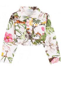 Укороченная куртка из хлопка с принтом Monnalisa