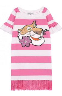 Хлопковое мини-платье с аппликацией и бахромой Monnalisa
