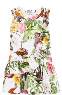 Хлопковое мини-платье с принтом и воланами Monnalisa