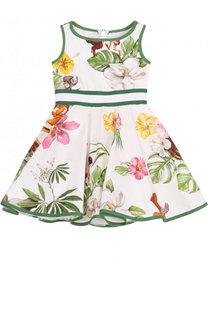 Хлопковое платье с пышной юбкой и широким поясом Monnalisa