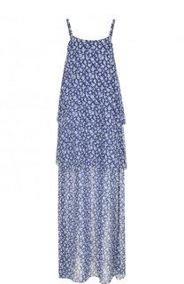 Шелковое платье-макси с цветочным принтом Poustovit