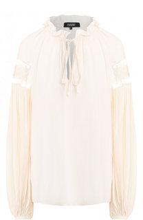 Шелковая блуза свободного кроя с воротником-стойкой Poustovit