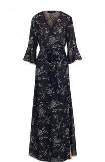 Приталенное платье-макси с принтом Poustovit