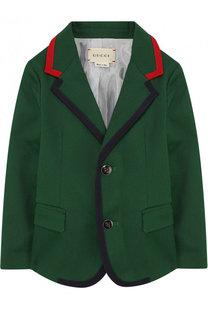Хлопковый пиджак на двух пуговицах с контрастной отделкой Gucci