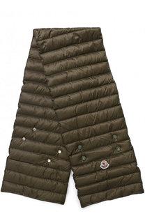 Пуховый стеганый шарф с логотипом бренда Moncler