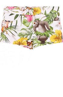 Хлопковые шорты с принтом Monnalisa