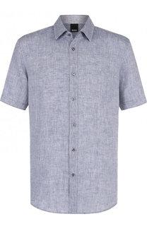 Льняная рубашка с короткими рукавами BOSS