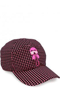 Текстильная бейсболка с аппликацией и логотипом бренда Fendi