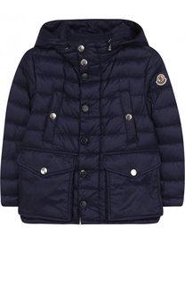 Пуховая куртка с капюшоном и карманами Moncler Enfant