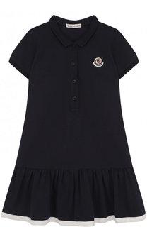 Приталенное платье из хлопка с логотипом бренда Moncler Enfant