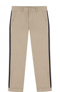Хлопковые брюки с лампасами Moncler Enfant