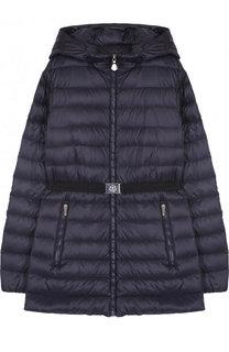 Пуховая куртка с капюшоном и поясом Moncler Enfant