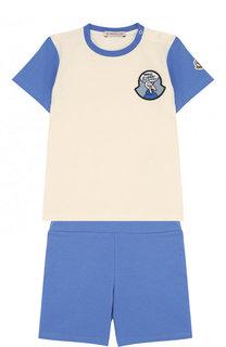 Хлопковый комплект из футболки и шорт Moncler Enfant