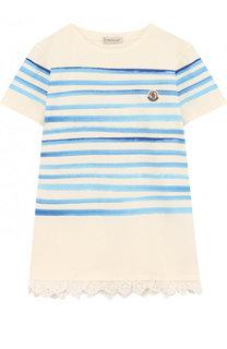 Хлопковая футболка в полоску с кружевной отделкой Moncler Enfant