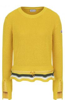 Хлопковый пуловер с оборкой и круглым вырезом Moncler