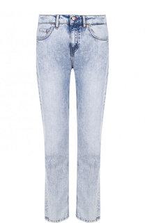 Укороченные джинсы прямого кроя с потертостями Escada Sport