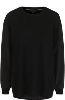 Однотонный пуловер из смеси шерсти и кашемира с круглым вырезом Escada