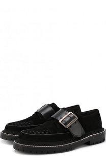 Замшевые ботинки с кожаным ремешком Burberry