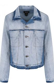 Укороченная джинсовая куртка с потертостями DKNY