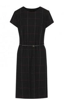 Приталенное мини-платье с карманами и поясом Escada