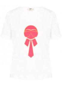 Хлопковая футболка прямого кроя с принтом Fendi