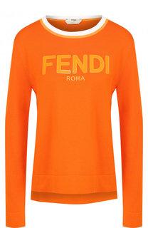 Хлопковый пуловер с круглым вырезом Fendi