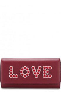 Кожаный кошелек с аппликацией на цепочке Fendi