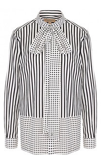 Хлопковая блуза с принтом и воротником аскот Burberry