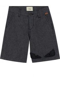 Джинсовые шорты с аппликацией Fendi Roma