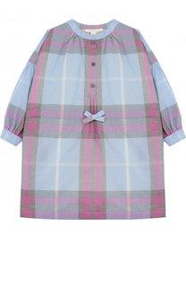 Хлопковое платье свободного кроя с принтом Burberry