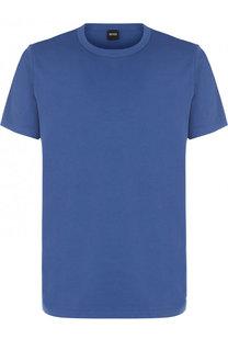 Однотонная хлопковая футболка с круглым вырезом BOSS