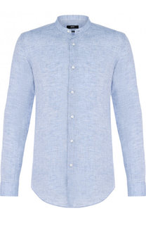 Льняная рубашка с воротником-стойкой BOSS