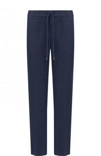 Льняные брюки прямого кроя с поясом на кулиске BOSS