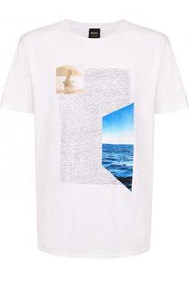 Хлопковая футболка с принтом BOSS