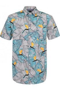 Хлопковая рубашка с короткими рукавами BOSS