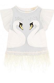 Блуза с аппликациями и отделкой из пера страуса Monnalisa