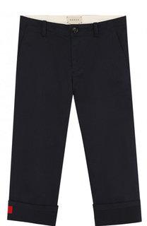 Хлопковые брюки с отворотами и контрастной нашивкой Gucci