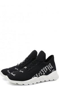 Текстильные кроссовки с принтом Fendi
