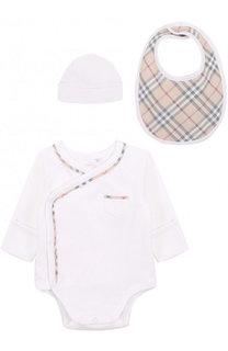 Хлопковый комплект из боди с нагрудником и шапки Burberry