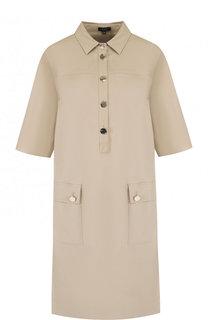 Хлопковое платье-рубашка с укороченным рукавом Escada