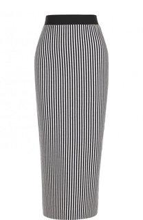 Хлопковая юбка-карандаш в полоску Tegin