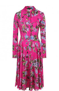 Шелковое платье-рубашка с цветочным принтом Escada