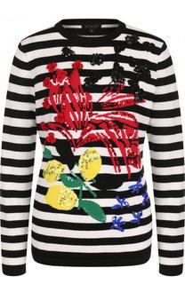 Шерстяной пуловер в полоску с круглым вырезом Escada