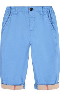 Хлопковые брюки с эластичной вставкой на поясе Burberry
